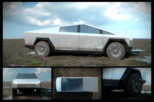 tesla cybertruck exterior 3d model turbosquid