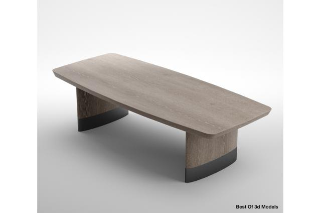 rectangular and curved Dining Table 3d model by Holly Hunt