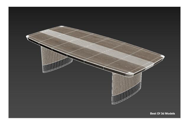 wooden Dining Table 3d model Holly Hunt