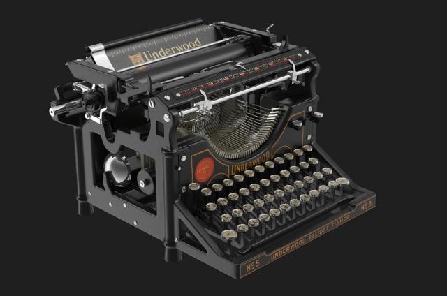 underwood typewriter no5 3d model turbosquid