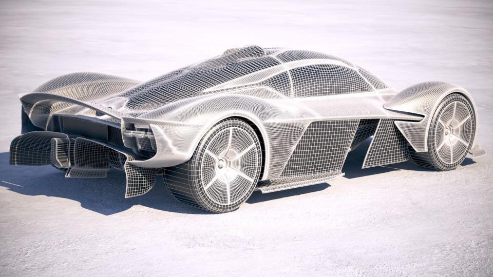 3d model of a silver car
