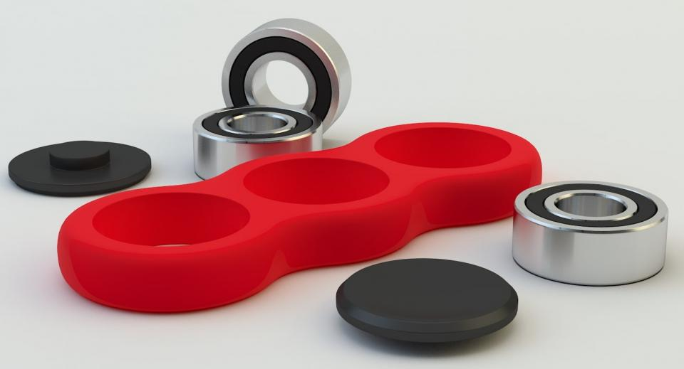 3d model of a red hand spinner