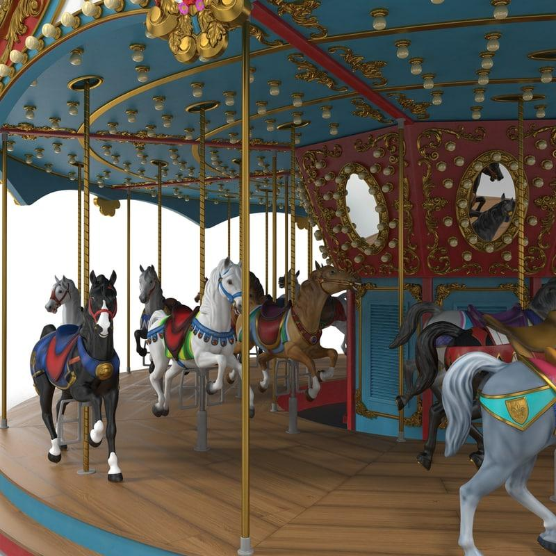 carrousel exterior 3d model turbosquid
