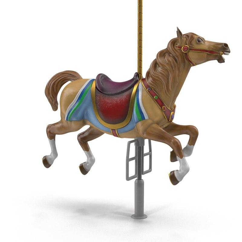 horse for carousel 3d model turbosquid