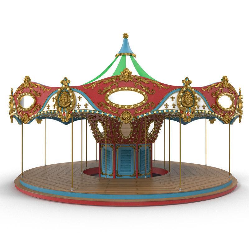 amusement park carosello 3d model turbosquid