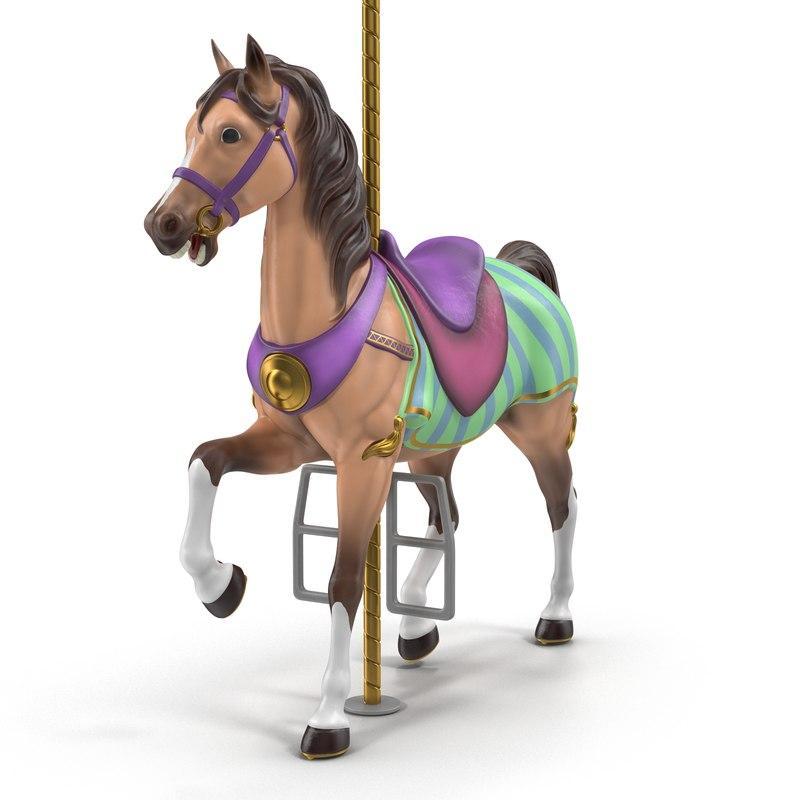 horseabout carousel 3d model turbosquid