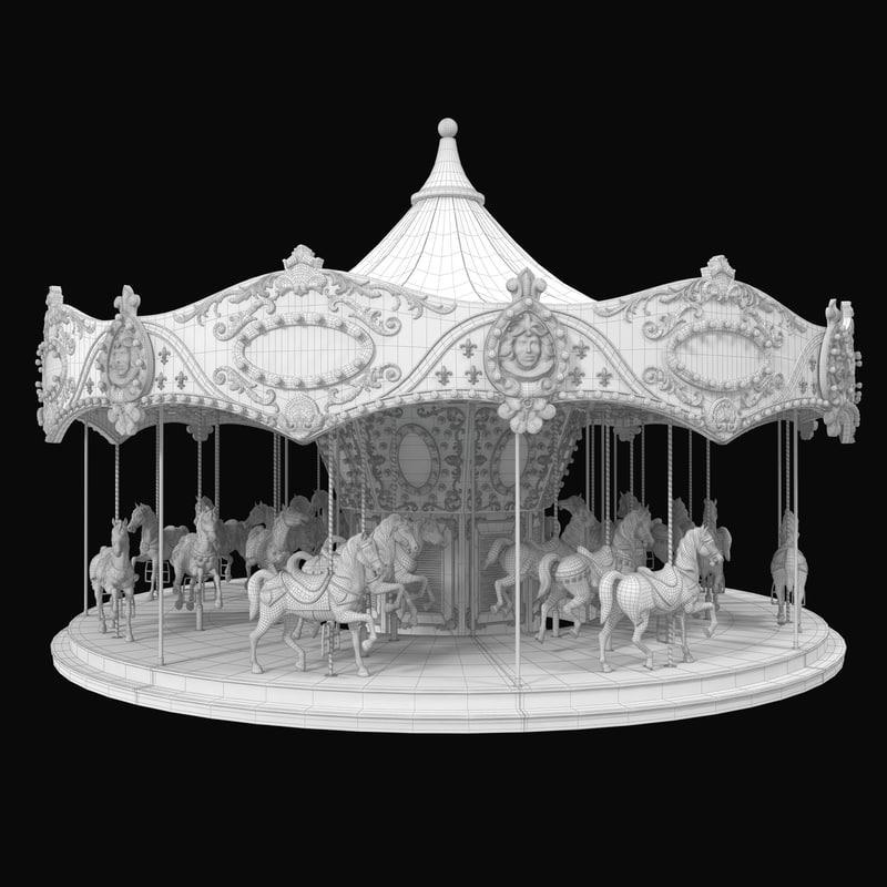 carousel ride fun park 3ds max 3d model turbosquid