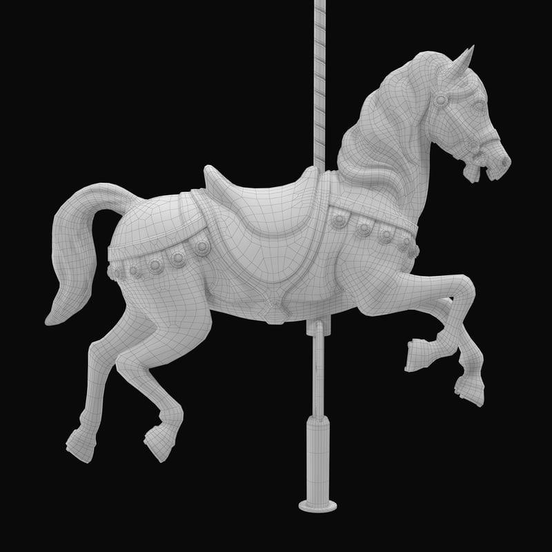 カルーセル3 dモデル horse for carousel 3dsmax vray 3d model turbosquid