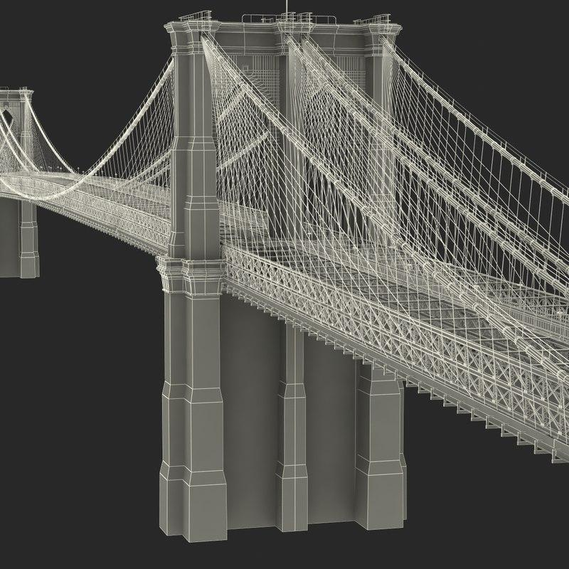 first fixed crossing across the East River 3d model turbosquid
