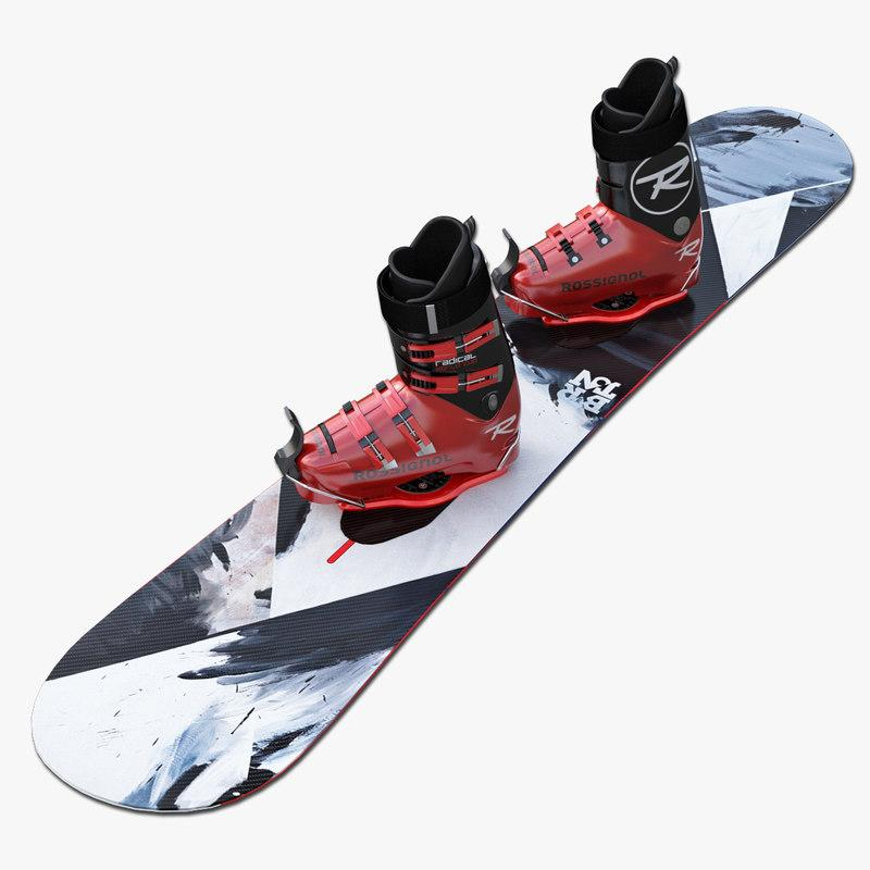 snowboard and boots 3d model turbosquid