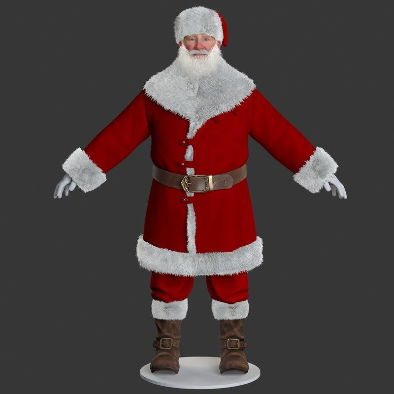 3d model santa claus static turbosquid