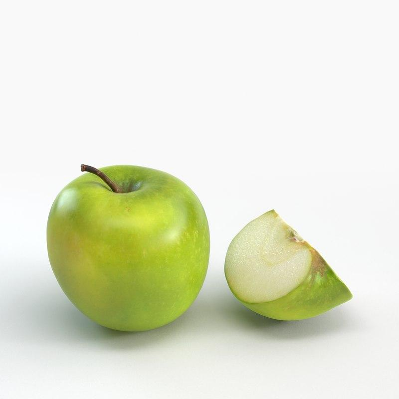 3d model of green apple