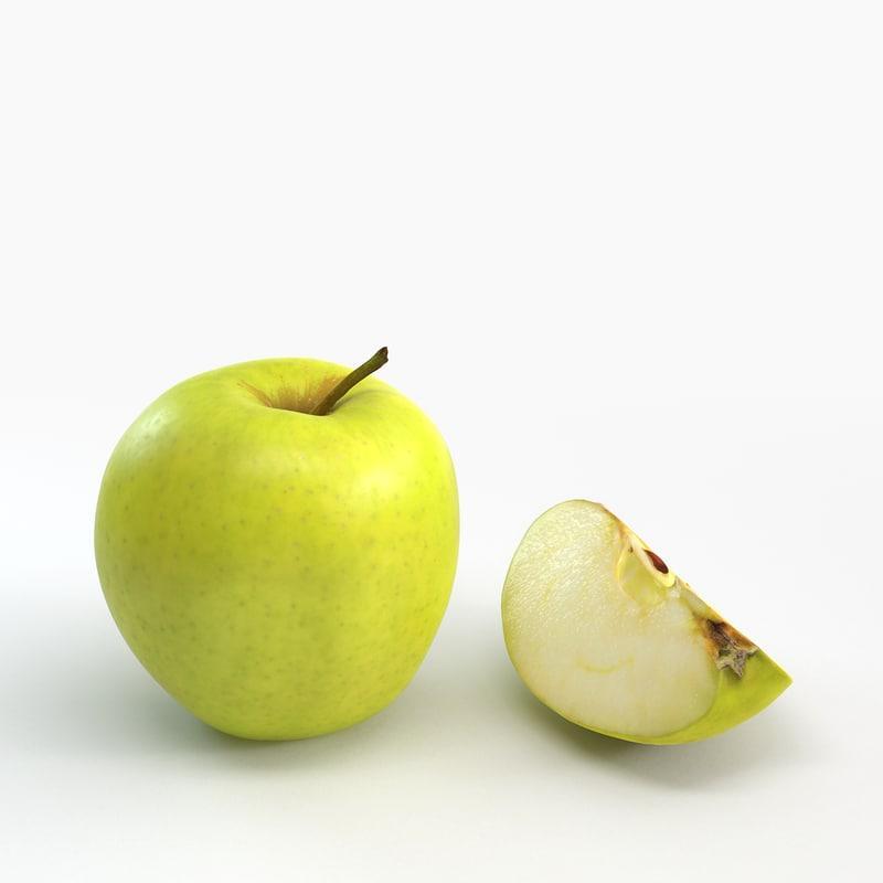 3d model of cut apple