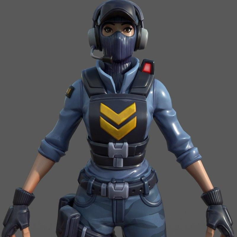 woman fortnite character 3d model turbosquid