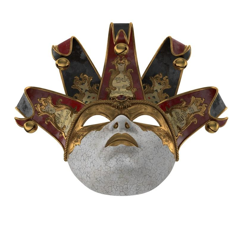 costume venetian mask 3d model turbosquid