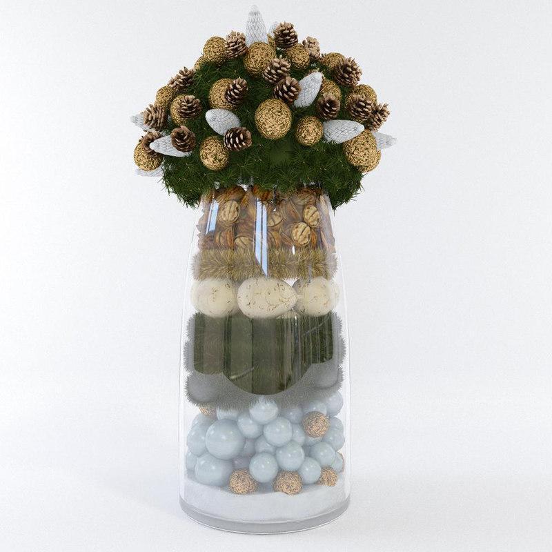 christmas vase 3d model turbosquid
