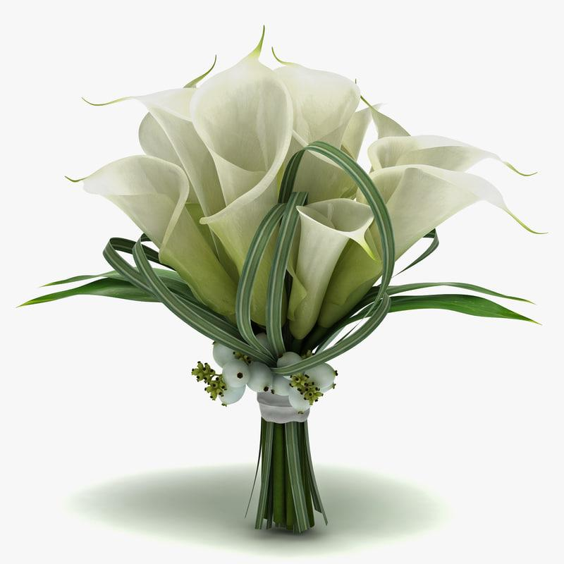 lilies bouquet 3d model turbosquid