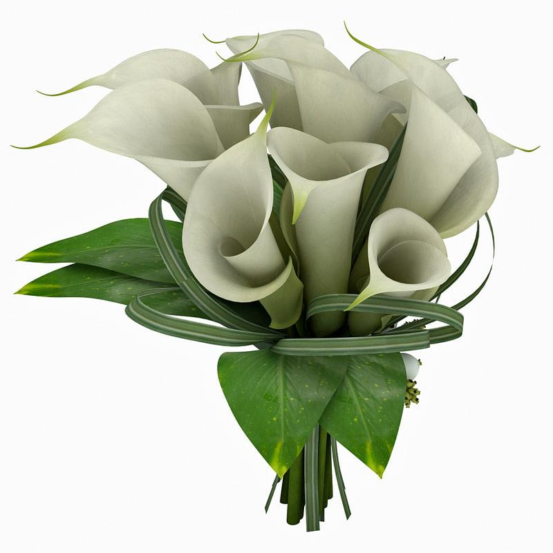 white lilies bouquet 3d model turbosquid