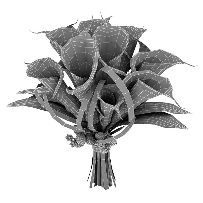 flowering plant bouquet 3d model turbosquid