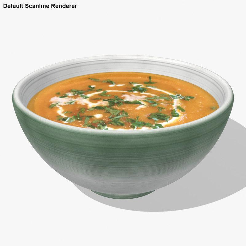 carrot soup 3d model turbosquid