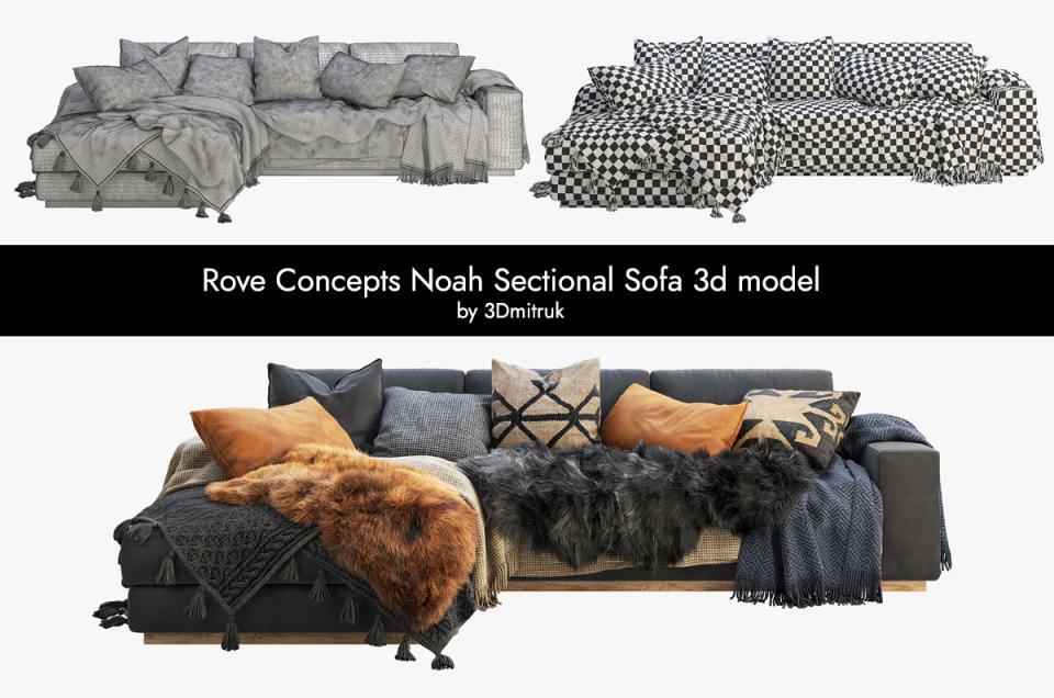 Rove Concepts Noah Sectional Sofa 3d model turbosquid
