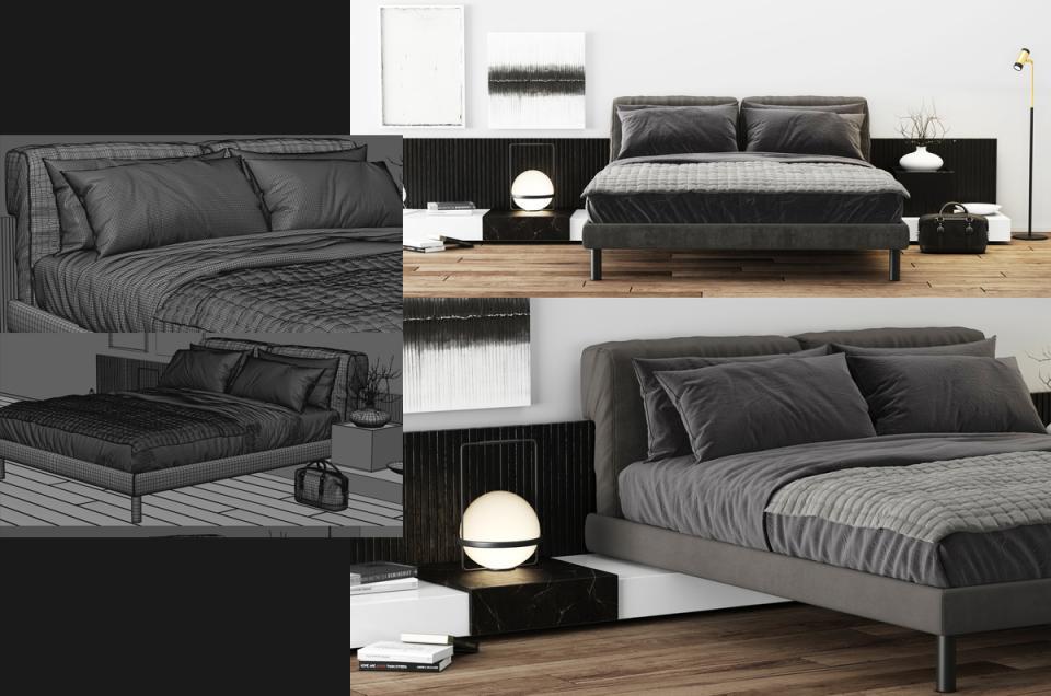 Meridiani Cliff Bed 3d model turbosquid