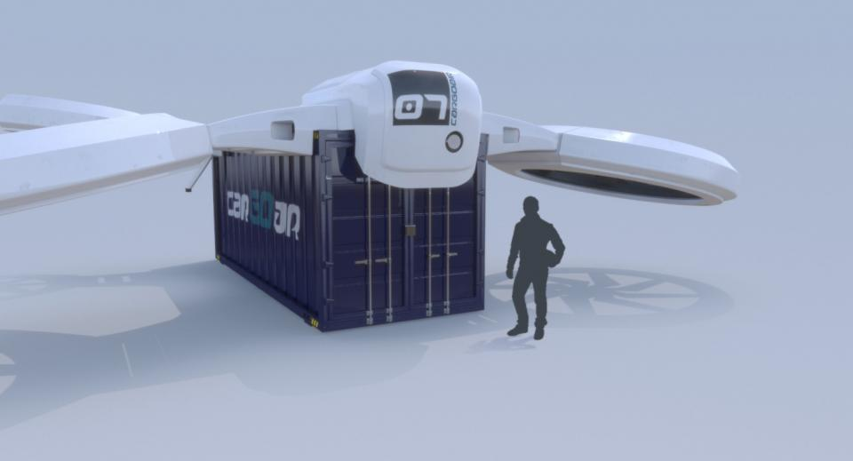 3d model of a cargo drone