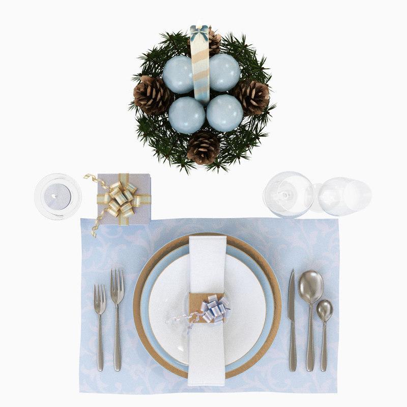 christmas tableware 3d model turbosquid