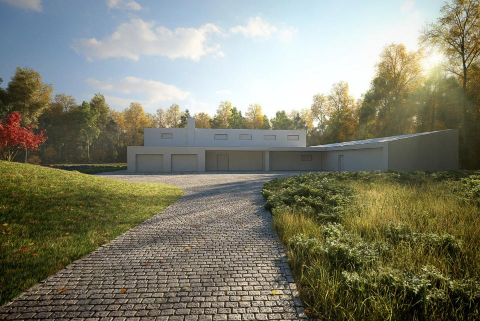 exterior 3d model grass pavement house evermotion turbosquid