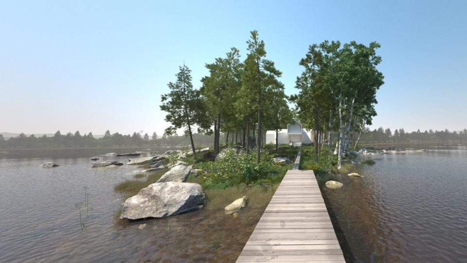 archexterior 3d scene lake trees evermotion turbosquid