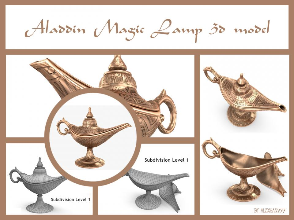 Aladdin magic lamp 3d model turbosquid