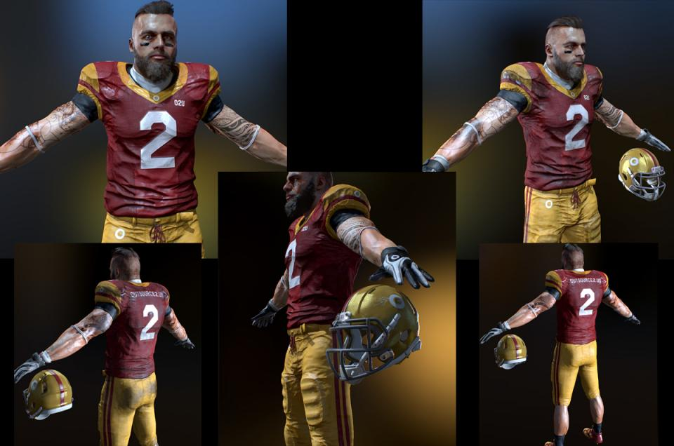 football player with helmet 3d model rigged and animated turbosquid