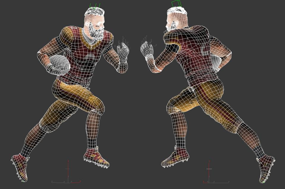 american football positions 3d model rigged and animated turbosquid