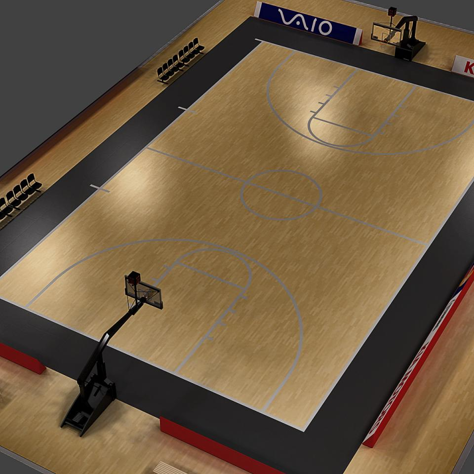basketball court 3d model turbosquid