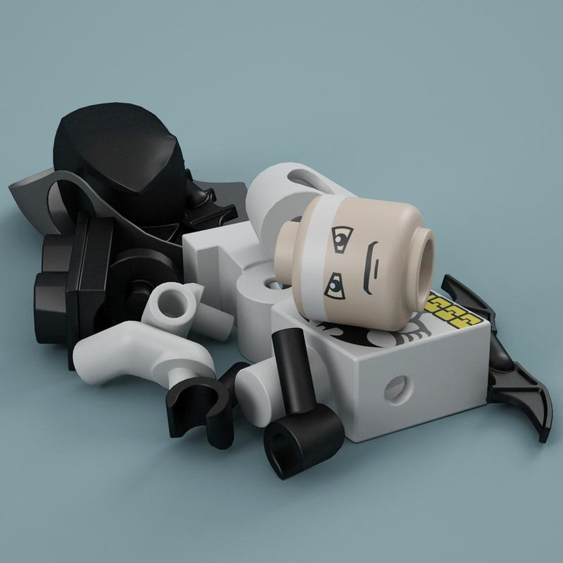 3d model of Batman lego parts