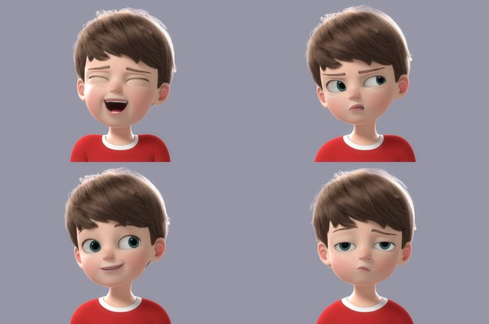 face expressions child 3d model turbosquid