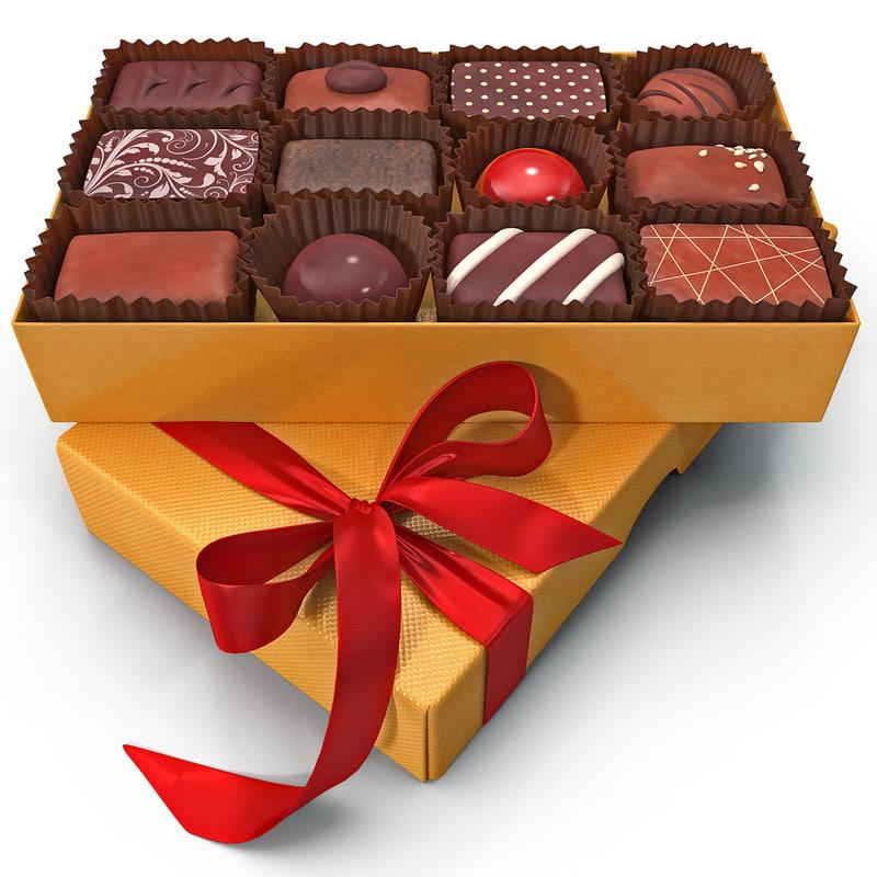 box of chocolates 3d model turbosquid