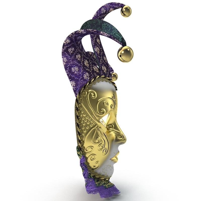 purple mardi gras mask with bells 3d model turbosquid