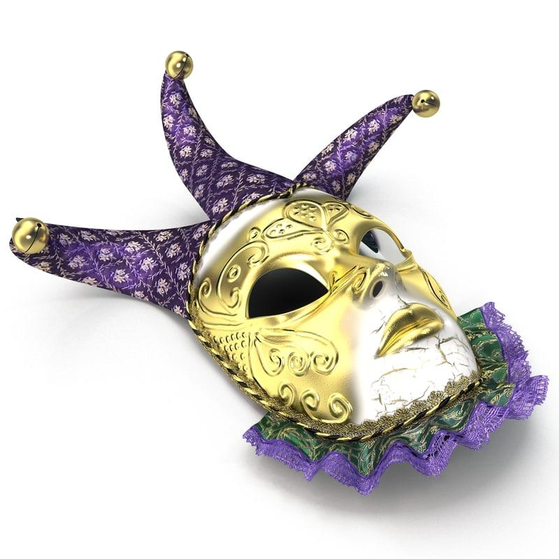 shrove tuesday mask 3d model turbosquid