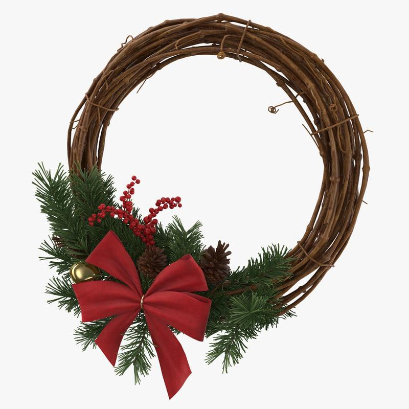 christmas wreath 3d model turbosquid
