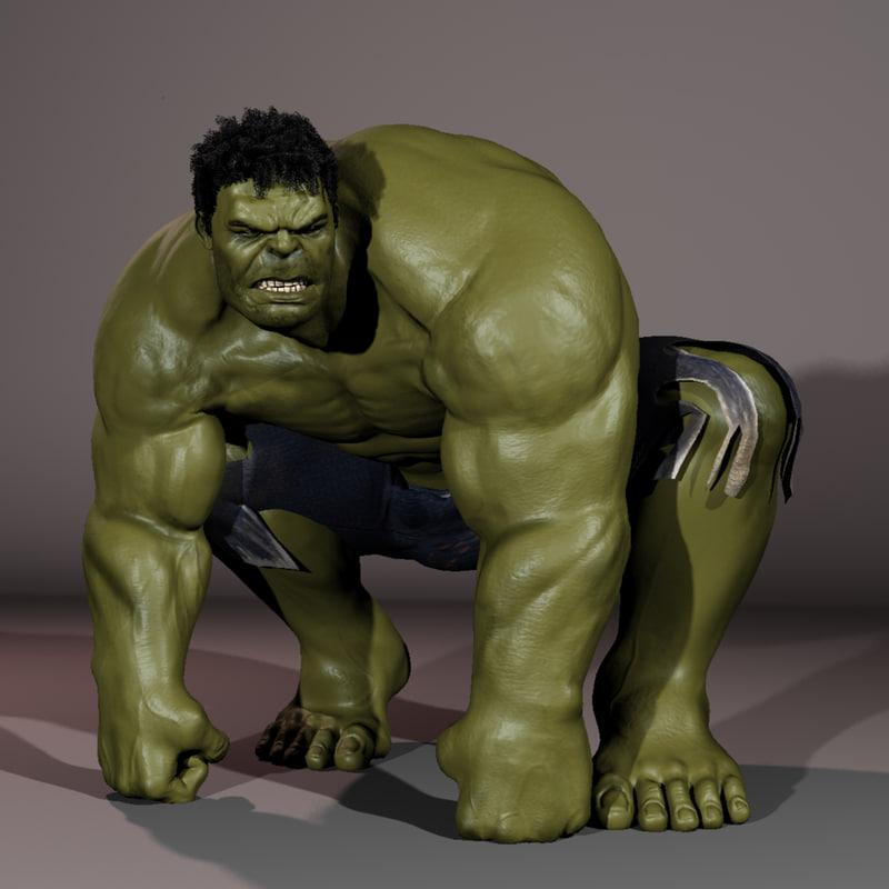 hulk rage pose 3d model turbosquid