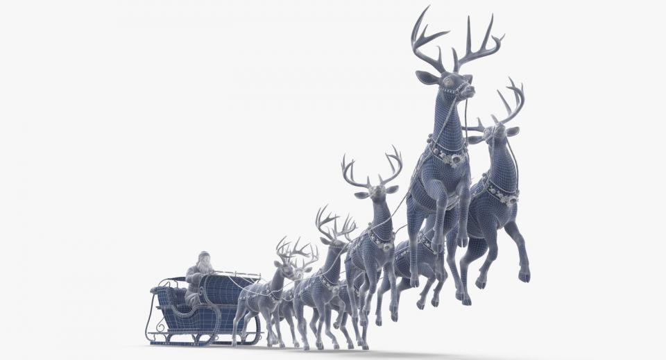 christmas santa and reindeer on sleigh 3d model turbosquid