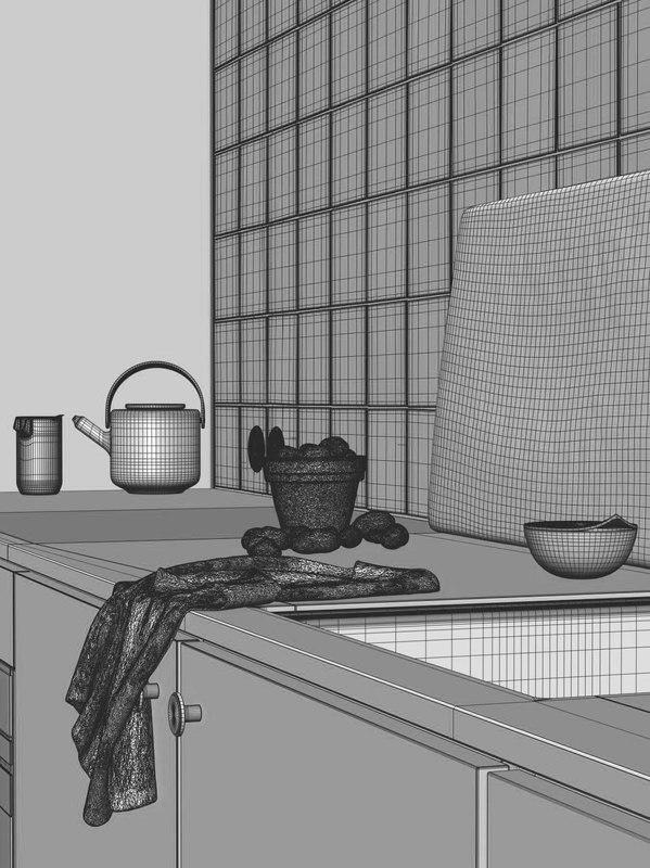 kitchen accessories 3d model turbosquid