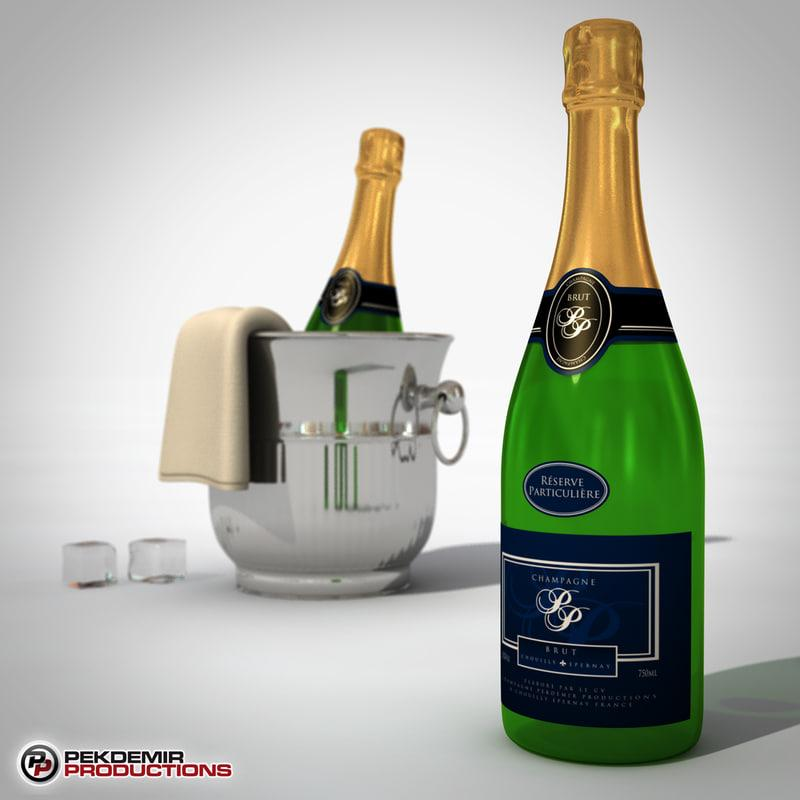 champagne bottle 3d model turbosquid
