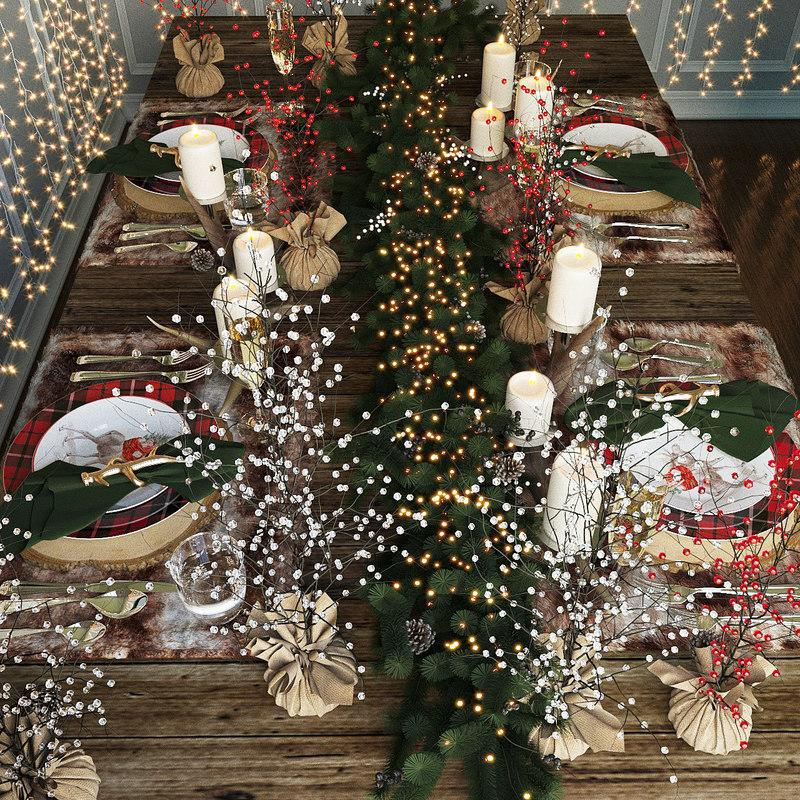 christmas table decor 3d model turbosquid