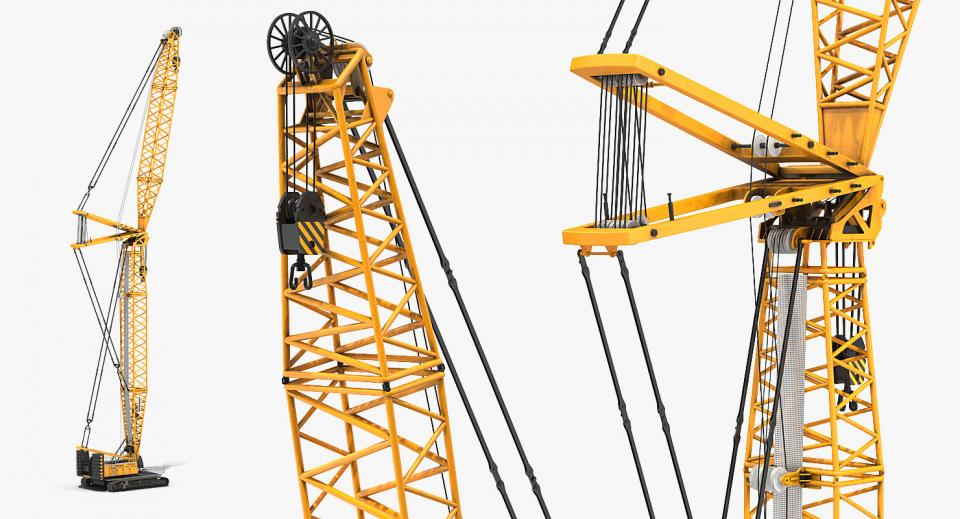 crane with a hoist rope, wire ropes, and sheaves 3d model turbosquid