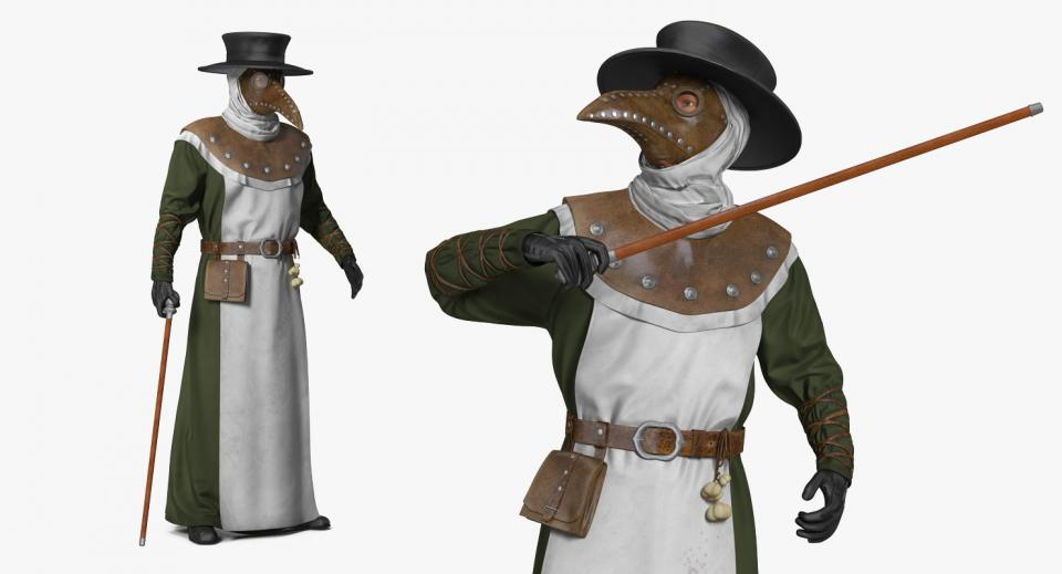 plague doctor with cane 3d model turbosquid