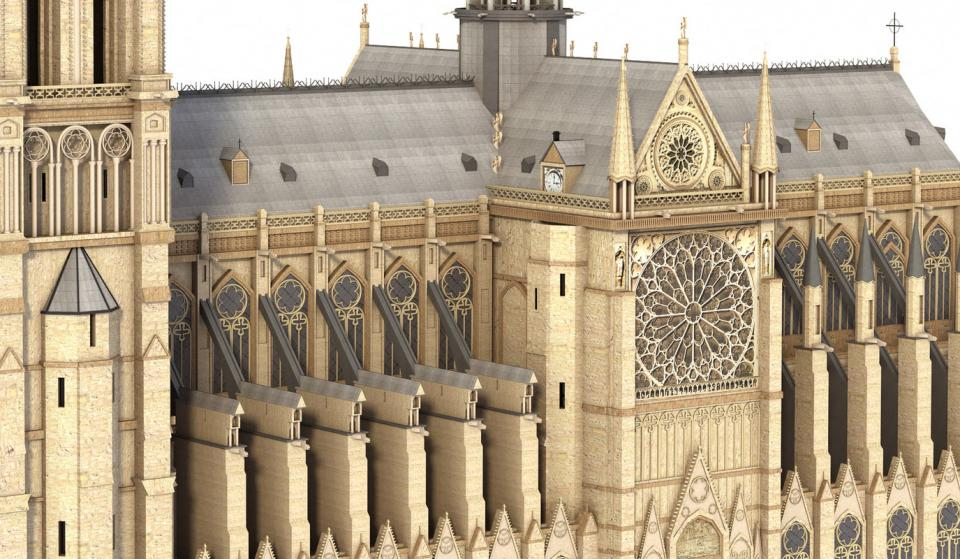 notre dame de paris 3d model turbosquid