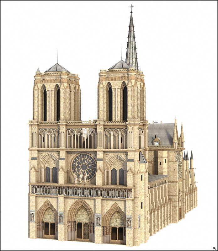 notre dame paris 3d model turbosquid