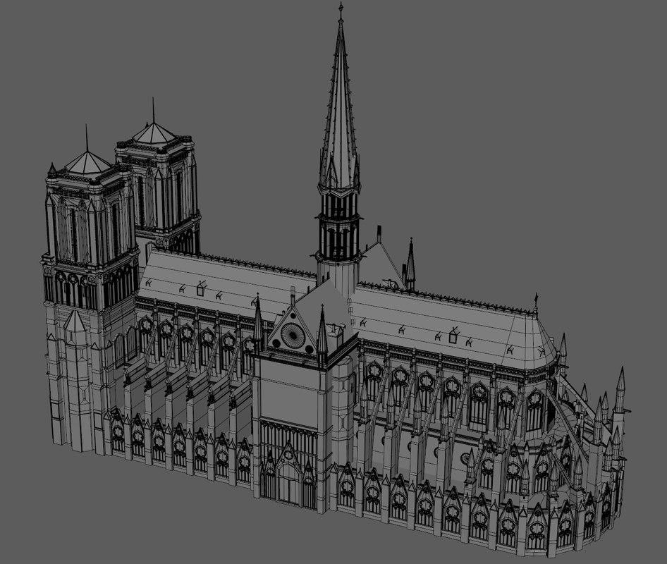 notre dame model 3d turbosquid